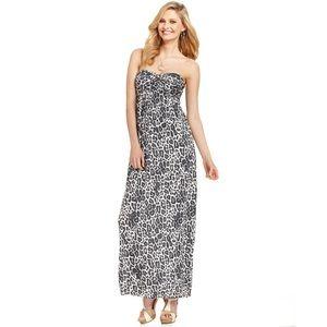 GUESS Strapless Sweetheart Leopard Maxi Dress